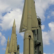 Stock Photo: Three missiles with nuclear warhead poised to launch 3
