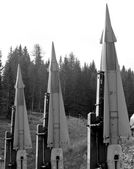Three deadly missiles with nuclear warhead poised to launch 2 — Stock Photo