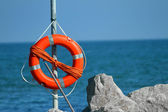 Lifeboat in the sea on a hot summer day — Stock Photo