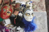 Original Venetian masks handmade in a stand in piazza san marco — Stock Photo