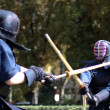 Two warriors of kendo fighting fight with bamboo swords in the — Stock Photo #32044293