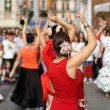 Flamenco dancers expert and Spanish dance with period costumes — Stok fotoğraf