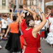 Flamenco dancers expert and Spanish dance with period costumes — Foto de Stock