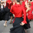 Flamenco dancers expert and Spanish dance with costumes — Stock Photo