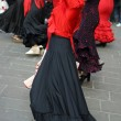 Flamenco dancers expert and dance with elegant period costumes — Photo