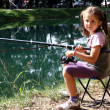 Little girl with the fishing rod on the shores of Lake fishing 1 — Stock Photo #32124687