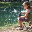 Little girl with the fishing rod on the shores of lake fishing 2 — Stock Photo #32124691