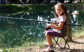 Little girl with the fishing rod on the shores of Lake fishing 1 — Stock Photo