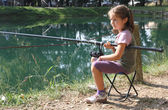 Little girl with the fishing rod on the shores of lake fishing 2 — Stock Photo