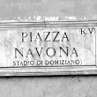 Road sign with an indication of the Piazza Navona in Rome Italy — Stock Photo