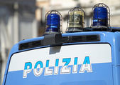 Gleaming Italian police van with lights — Stock Photo
