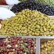 Tasty olives for sale at vegetable market directly from producer — Stock Photo