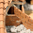 Attic insulation with the insulating material of the House — Stock Photo