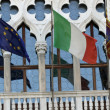 Italian and europe flag of veneto region in headquarter of REGIO — Stock Photo