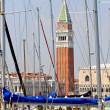 Bell tower of St. Mark in the midst of masters of trees yatch an — Stock Photo