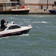 Ship of law enforcement with carabienire on patrol in Venice — Stock Photo #32592603