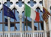 Italian and europe flag of veneto region in headquarter of REGIO — Stock Photo