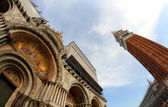 Basilica in piazza san marco and the bell tower in Venice — Stock Photo