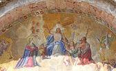 Mosaico com jesus na fachada da basílica santa na piazza s — Foto Stock
