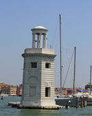 Lighthouse on the island of San Giorgio in Venice and port — Stock Photo