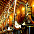 Stock Photo: Copper lids and craft distillery tanks for production of s