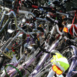 Stock Photo: Wheels, tires, handlebars, bike pedals during gathering of cyc