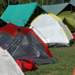 Tents where they sleep the kids and people sheltered from weathe — Stok fotoğraf