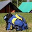 Backpack in the campsite — Stock Photo
