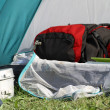 Stock Photo: Backpack in tent and aluminum lunchbox