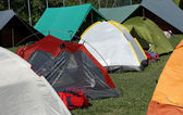 Tents where they sleep the kids and people sheltered from weathe — Stock Photo