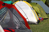 Tents where they sleep people — Foto Stock