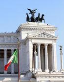 Italian flag and monument Vittoriano in Rome — Stock Photo