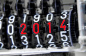 Analog meter that marks 2014 — Stock Photo