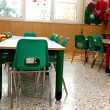 Постер, плакат: Particular of a classroom in a kindergarten with little green ch