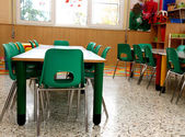 Particular of a classroom in a kindergarten with little green ch — Stock Photo
