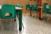 Classroom in a kindergarten with little green chairs — Fotografia Stock