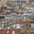 Roofs of the metropolis with lots antenna for reception of telev — Stock Photo