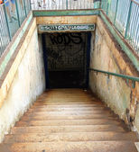 Abandoned railroad underpass venue of drug addicts and drunks — Stock Photo