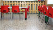 Internal furniture of chairs and tables of a kindergarten — Stock Photo
