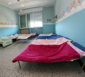 Children's COTS inside the dormitory — Stock Photo