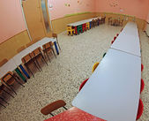 Refectory of a kindergarten for children with small colored chai — Zdjęcie stockowe
