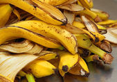 Yellow banana peels just Peel to store organic waste — Stock Photo