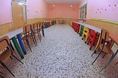 Refectory of a nursery photographed with fisheye lens — Stock Photo