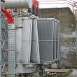 Electric voltage transformer of a powerful power plant — Stock Photo