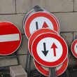 Road sign in stock ready to be used in road construction — Lizenzfreies Foto