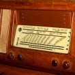 Radio 1950 years in Burr walnut and the stations names — Stockfoto