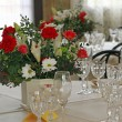 Elegant table set for the celebration of the wedding ceremony of — Stock Photo