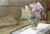 Lounge for nobles within a late 18th century villa with a vase o — Stock Photo