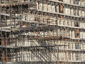 Scaffold scaffolding fall protection during the info in the buil — Stock Photo