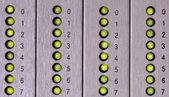 Green LED for number seven lines of central system alerts — Foto Stock